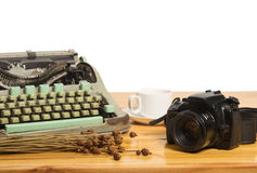 Vintage typewriter and camera Royalty Free Stock Photo