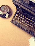 Vintage typewriter and a fresh Cup of coffee Stock Photo
