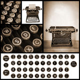 Vintage Typewriter Image Collection. Sepia tone vector illustration