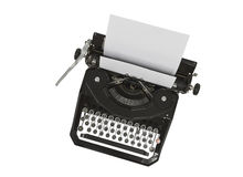 Vintage Typewriter Isolated on White Stock Photography