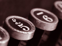 Vintage typewriter keys. Keys 5 and 6 of old typewriter, with sepia tone. Pound symbol over the 5 royalty free stock photo