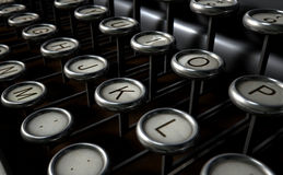 Vintage Typewriter Keys Close Up Stock Photo