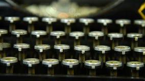 Vintage Typewriter Keys. Extra Close Up. Slow motion effect stock video footage