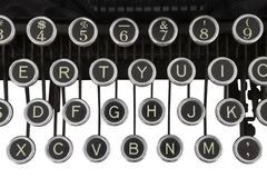 Vintage Typewriter Keys Isolated. On white Stock Photo