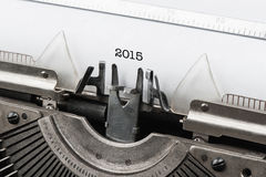 Vintage typewriter with numbers of new year 2015 Royalty Free Stock Image