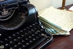 Vintage typewriter. And old letters, retro style stock image