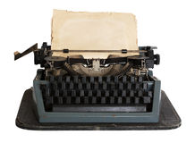 Vintage typewriter with paper isolated Royalty Free Stock Image