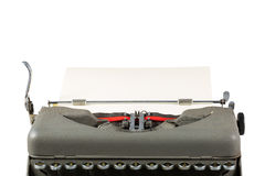 Vintage typewriter with paper isolated on white background Stock Photos