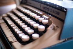 Vintage Typewriter, Retro old typewriter with Thai alphabet. Concept be used for development of technology, illustrative editorial.  royalty free stock photo