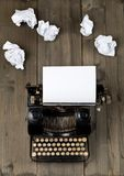 Vintage typewriter top down flatlay shot from above with empty, Stock Image