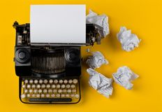 Vintage typewriter top down flatlay shot from above with empty, Royalty Free Stock Images
