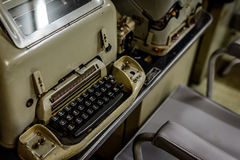 Vintage typewriter in Vietnamese bunker. Old typewriter in Vietnamese war room Stock Photo