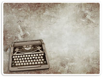 Vintage Typewriter on vintage postcard Royalty Free Stock Photo