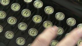 Vintage Typewriter. Woman typing on a vintage typewriter, very close up stock footage