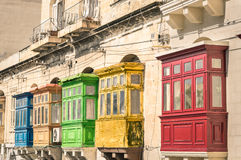 Vintage typical buildings balconies in La Valletta Malta Stock Photography