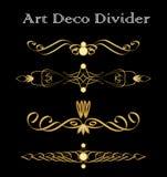 Vintage typographic divider in art deco design, luxurious gold decorative separator design elements for print, restaurant menus, l Stock Image