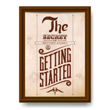Vintage typographic motivational quote poster. With wooden frame Stock Photo