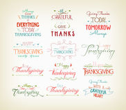 Vintage Typographic Thanksgiving Design Set Royalty Free Stock Photography