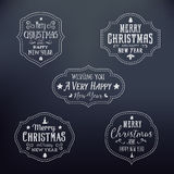 Vintage Typography Christmas Vector Badges Set Royalty Free Stock Images