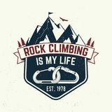 Vintage typography design with carabiners, condor and mountain silhouette. Rock Climbing is my life badge. Vector. Concept for shirt or logo, print, stamp or Stock Photo
