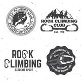 Vintage typography design with climber, carabiner and mountains. Set of Rock Climbing club badges. Vector illustration. Concept for shirt or logo, print, stamp royalty free illustration