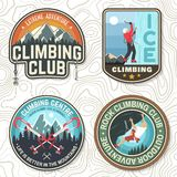Vintage typography design with climber, carabiner and mountains. Set of Rock Climbing club badges. Vector illustration. Concept for shirt or print, stamp, patch vector illustration