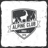 Vintage typography design with ice axe, rock climbing Goats and mountain silhouette. Alpine club badge. Vector illustration. Concept for shirt or logo, print Stock Image