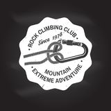 Vintage typography design with knot for quickly tying a climbing rope and carabiner. Rock Climbing club badge. Vector. Concept for shirt or logo, print, stamp Royalty Free Stock Photos