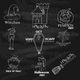 Vintage Typography Halloween Vector Badges Logos or Labels Pumpkin Ghost Scull Bones Bat Spider Web and Witch Hat. Handdrawn logos Stock Photos