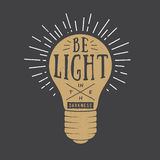 Vintage typography with lamp and motivation and inspiration. Stock Images