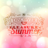 Vintage typography lettering with floral ornaments and blurred background Stock Image