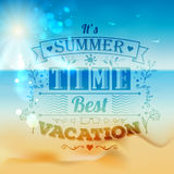 Vintage typography lettering with floral ornaments and summer landscape Stock Image