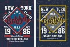 College brooklyn , Vector Image. College brooklyn for T shirt graphic, Vectors royalty free illustration