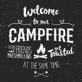 Vintage typography poster Illustration with sign welcome to campfire - Grunge effect. Funny lettering with symbol camp Royalty Free Stock Images