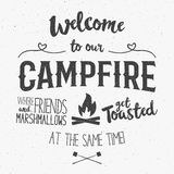 Vintage typography poster Illustration with sign welcome to campfire - Grunge effect. Funny lettering with symbols camp Royalty Free Stock Images