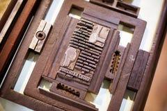 Vintage Typography Press. Vintage typography printing methods in Australia Royalty Free Stock Images