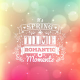 Vintage typography spring lettering and blurred vector background with bokeh Stock Images