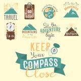 Vintage typography travel motivation badge nature adventure vector adventure emblem illustration Stock Photos