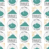 Vintage typography travel motivation seamless pattern nature adventure vector adventure emblem illustration. Vintage typography travel motivation badge nature Royalty Free Stock Images