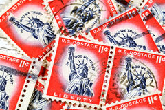 Vintage U. S. liberty stamp. A group of canceled vintage Liberty stamps from 1954 to 1968 Royalty Free Stock Photo