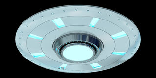 Vintage UFO isolated on black background 3D rendering Stock Photos