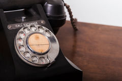 GPO 332 vintage telephone - close up of rotary dial. Vintage UK General Post Office 332 Director Telephone (Handset Micro Telephone) circa 1946 - close shot of Stock Photography