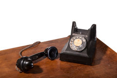 GPO 332 vintage telephone - isolated on white. Vintage UK General Post Office 332 Director Telephone (Handset Micro Telephone) circa 1946 - handset off hook Stock Images