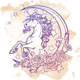 Vintage unicorn with crescent stars and roses greeting card Royalty Free Stock Image