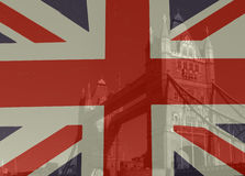 Vintage Union Jack Merged Image Stock Photo
