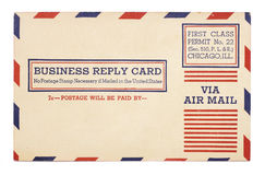 Vintage United States Airmail Business Reply Card Royalty Free Stock Images