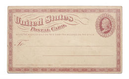 Vintage United States Once Cent Postcard. The front of a vintage United States postcard from early 1900s with a red border, the words United States Postal Card Royalty Free Stock Images