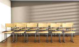 Vintage university classroom with equation solution on blackboard 3D Render stock photos