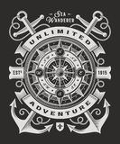 Vintage Unlimited Adventure Typography On Black Background. T-shirt and label graphics with compass rose and anchors. Editable vector illustration in woodcut Stock Photo