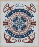Vintage Unlimited Adventure Typography. T-shirt and label graphics with compass rose and anchors. Editable EPS10 vector illustration in woodcut style Stock Photo